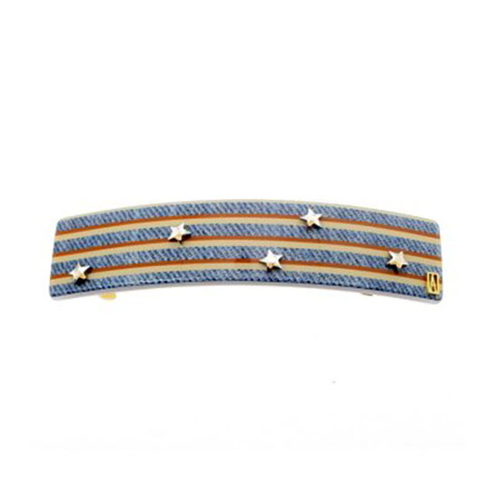Alexandre de Paris Hair Slide Denim Stripes Blue 8cm