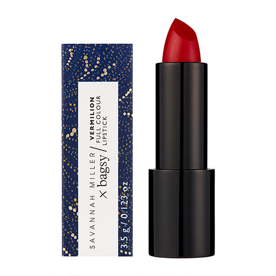 Bagsy Savannah Miller x Bagsy Vermilion Red Full Colour Lipstick