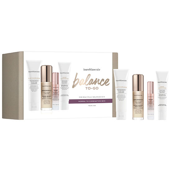 bareMinerals Balance To Go Travel Size Skin Care Gift Set Normal/Dry Skin