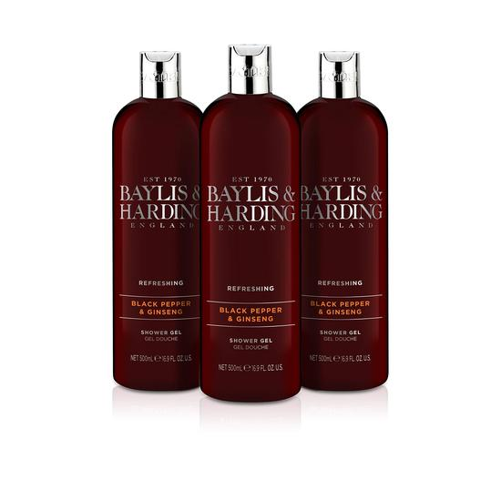 Baylis & Harding Black Pepper Moisturising Shower Gel 3 x 500ml