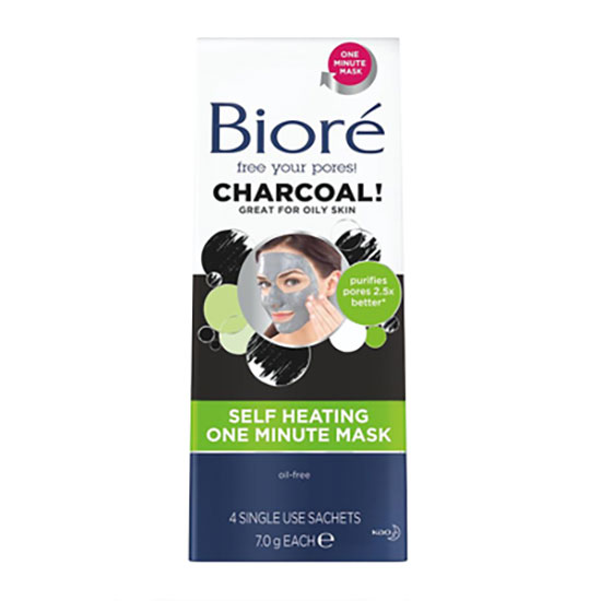 Biore Charcoal Self Heating Mask 4pk