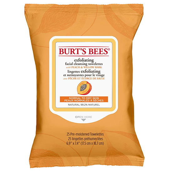 Burt's Bees Facial Cleansing Towelettes Peach & Willow Bark 25 Count