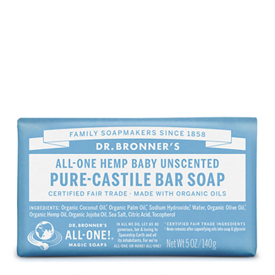 Dr Bronner's All One Baby Unscented Pure Castile Bar Soap 140g