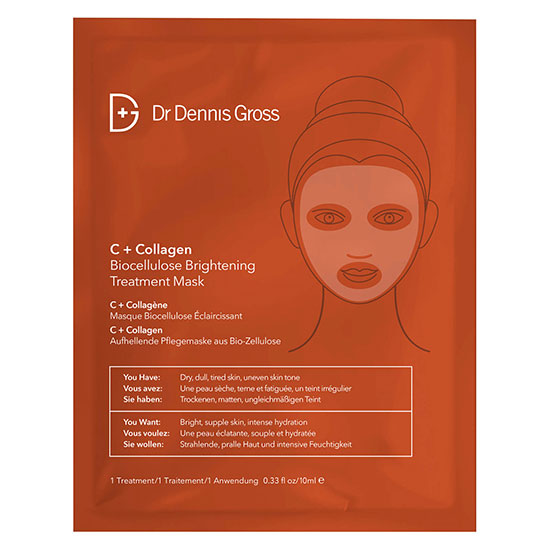 Dr Dennis Gross Skincare C+Collagen Biocellulose Brightening Treatment Mask One Mask