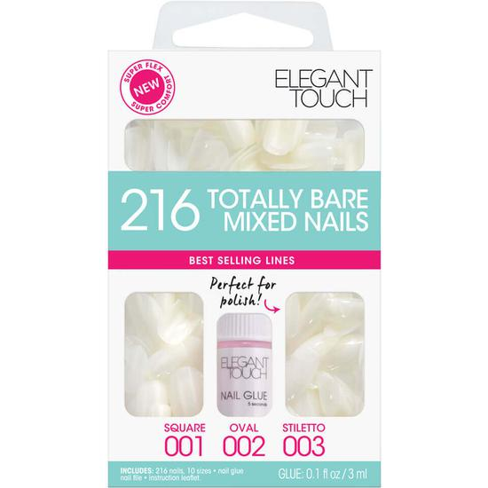 Elegant Touch Totally Bare Nails Bumper Kit Regular Mixed Set (Stiletto/Oval/Square)