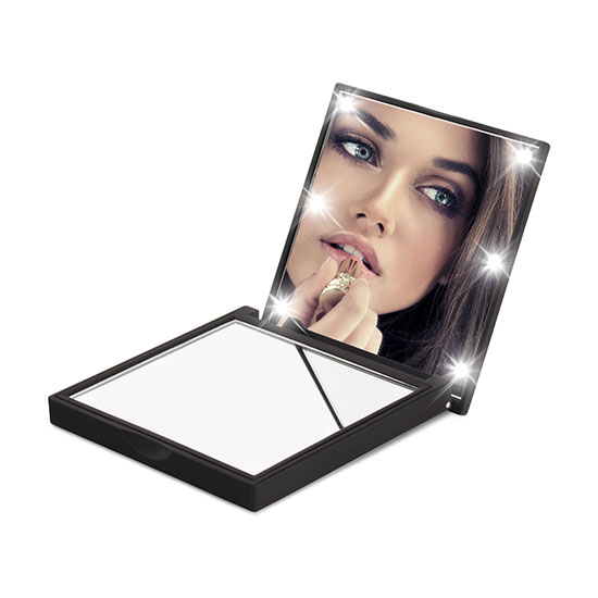Flo Soft Touch Compact Mirror Black
