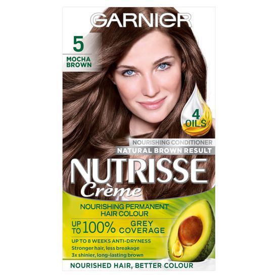 Garnier Nutrisse 5 Mocha Brown Permanent Hair Dye   Cosmetify