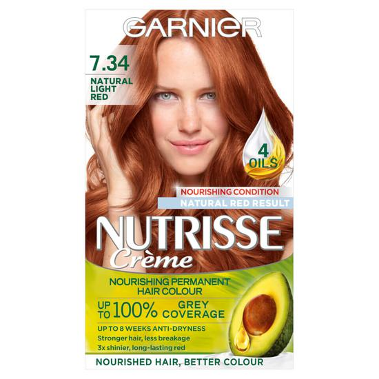 Garnier Nutrisse 7.34 Light Natural Red Permanent Hair Dye Natural Looking Hair Colour Result