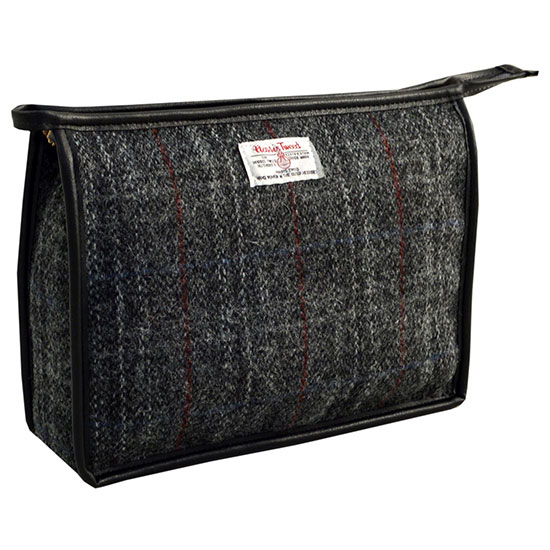 Harris Tweed Herringbone Zip Top Holdall Black/Grey
