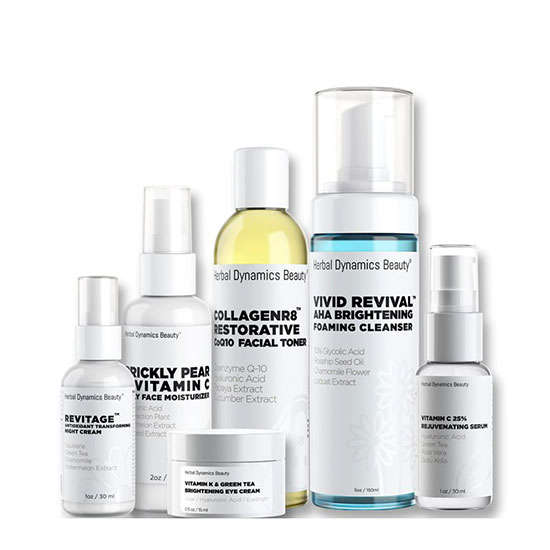 Herbal Dynamics Beauty Brightening Skincare Routine Bundle for Dull or Uneven Skin Types