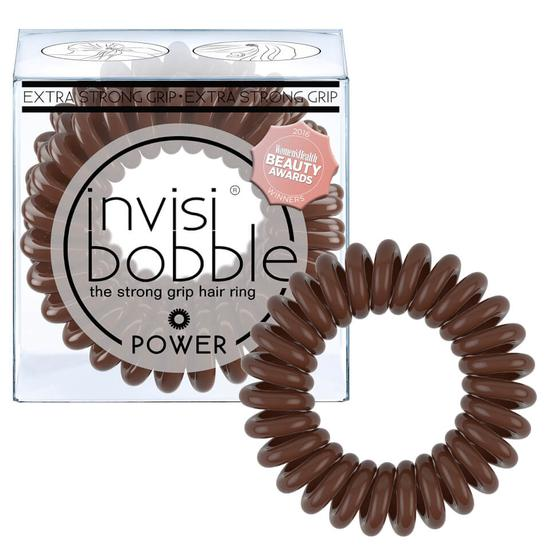 Invisibobble Power Strong Hold Hair Ties Pretzel Brown Pack Of 3