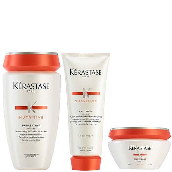 Kérastase Nutritive Bain Satin 2 250ml Nutritive Lait Vital & Masquintense Cheveux Epais For Thick Hair