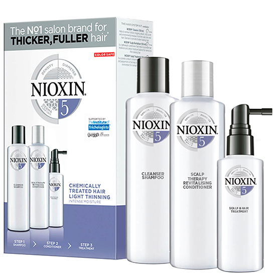 Nioxin 3 Part System Trial Kit 5 for Chemically Treated Hair With Light Thinning