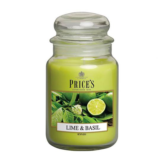 Price's Lime & Basil Large Jar Candle 1kg