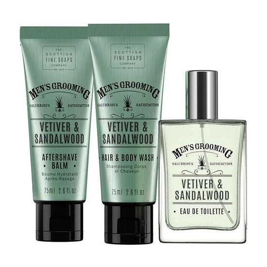 Scottish Fine Soaps Vetiver & Sandalwood Well Groomed Gift Set