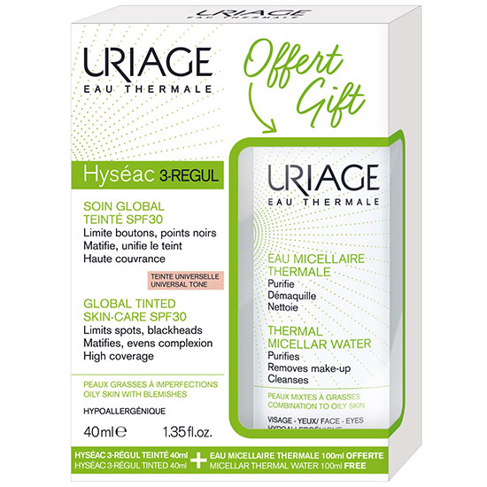 Uriage Eau Thermale Hyseac 3 Regul Global Tinted SPF30 + Free Thermal Micellar Water For Combination To Oily Skin 40ml