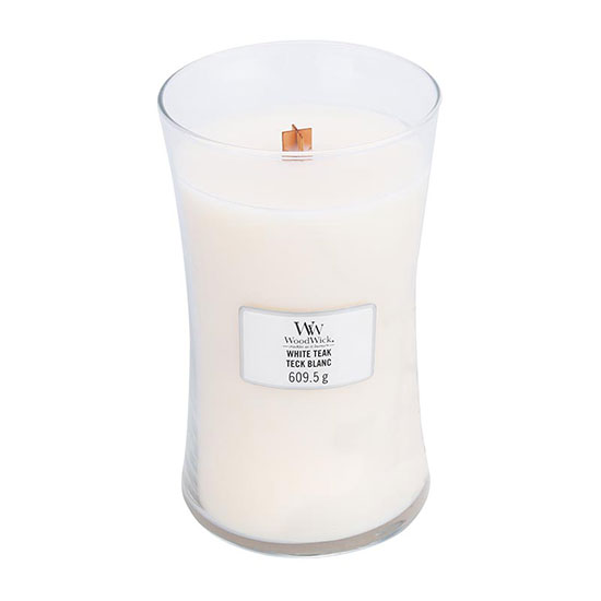WoodWick White Teak Large Jar Candle 609.5g