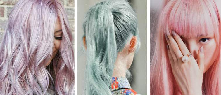 collage of pink purple and blue pastel hair colours