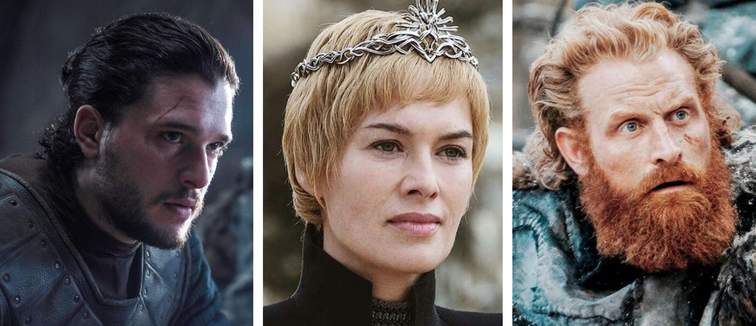 GOT collage John Snow, Cersei Lannister, Tormund Giantsbane