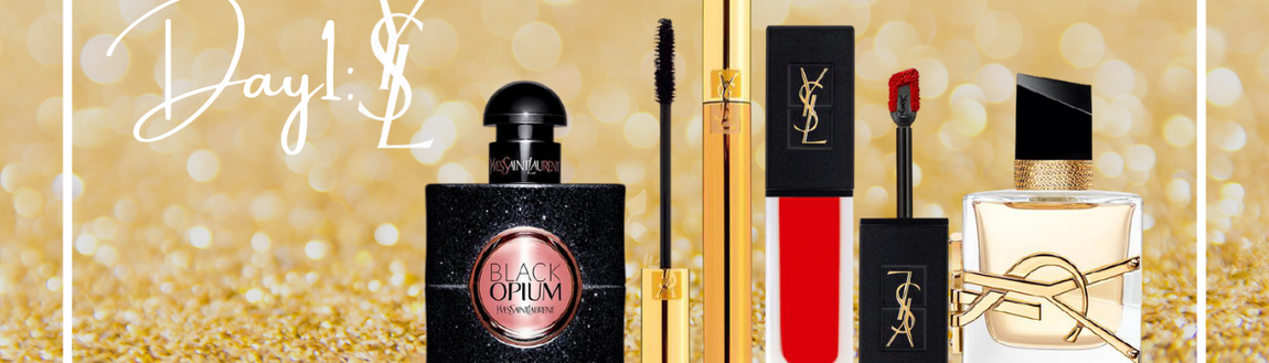 four YSL products on gold glitter background