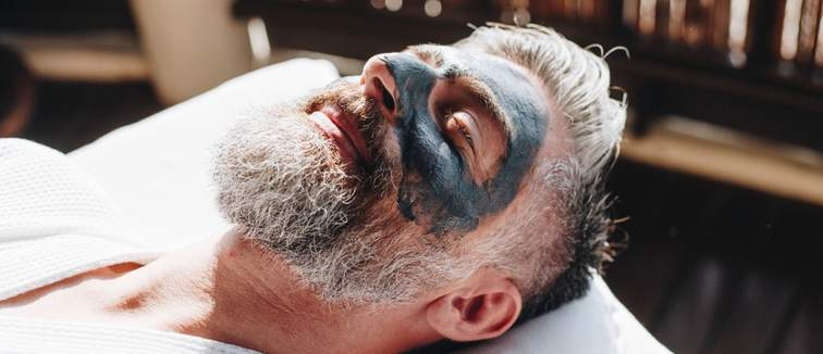 Bearded man with face mask