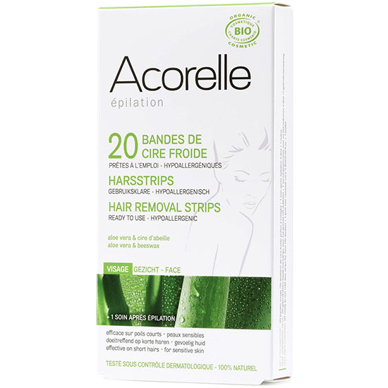Acorelle Ready To Use Aloe Vera & Beeswax Face Strips 20 Strips