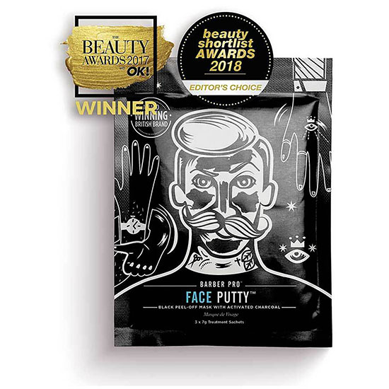BARBER PRO FACE PUTTY Black Peel-Off Mask 3 x 7g