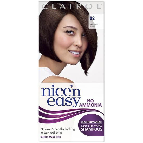 Clairol Nice'n Easy Semi-Permanent Hair Dye 82 Dark Warm Brown
