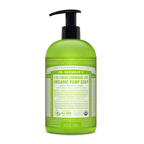 Dr Bronner's 4 In 1 Sugar Organic Pump Soap 710ml