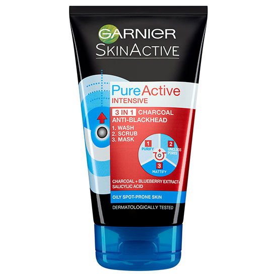 Garnier Pure Active 3in1 Charcoal Blackhead Mask Wash Scrub
