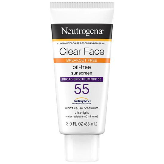 Neutrogena Clear Face Breakout Sunscreen SPF 55 88ml