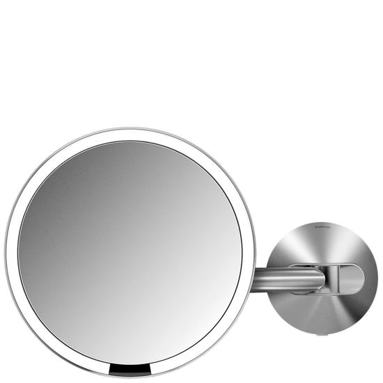 Simplehuman Sensor Mirrors 5 x Magnification Wall Mounted Sensor Mirror: Round, Stainless Steel, Hard Wired Brushed